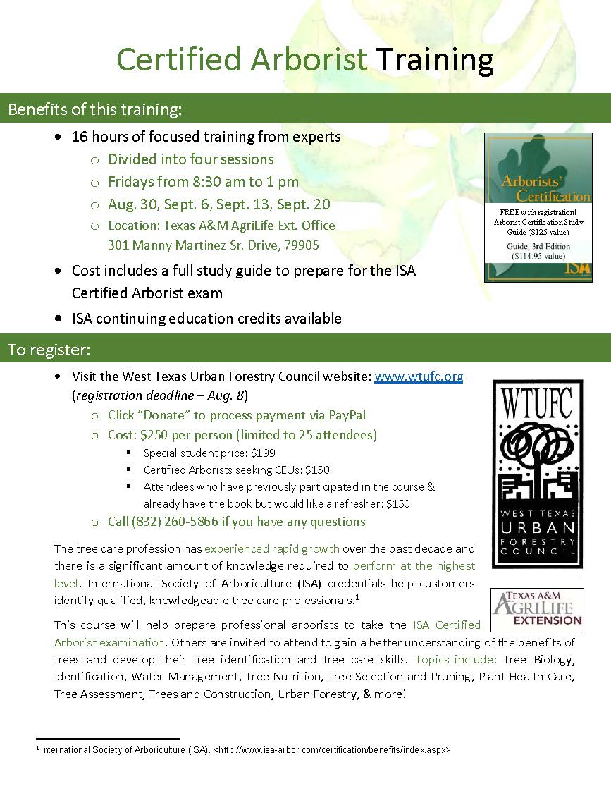 Programs Events West Texas Urban Forestry Council